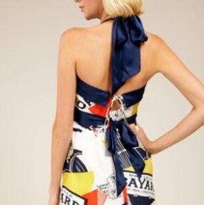 Voom by Joy Haan Silk Magazine Print Dress